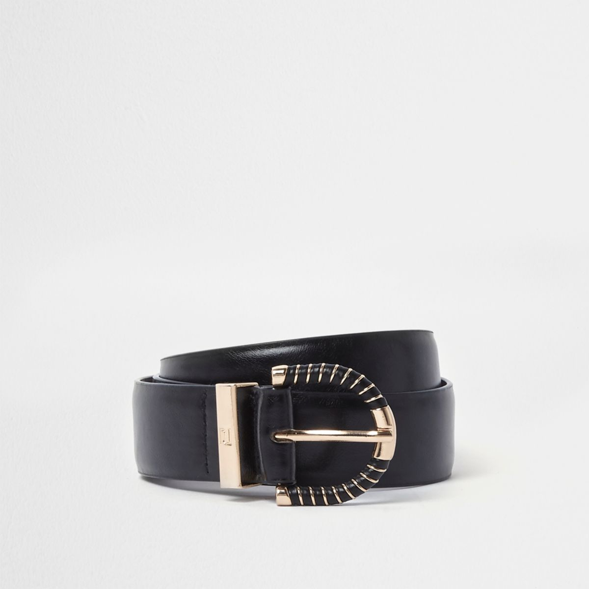 Black gold tone wrapped buckle jeans belt