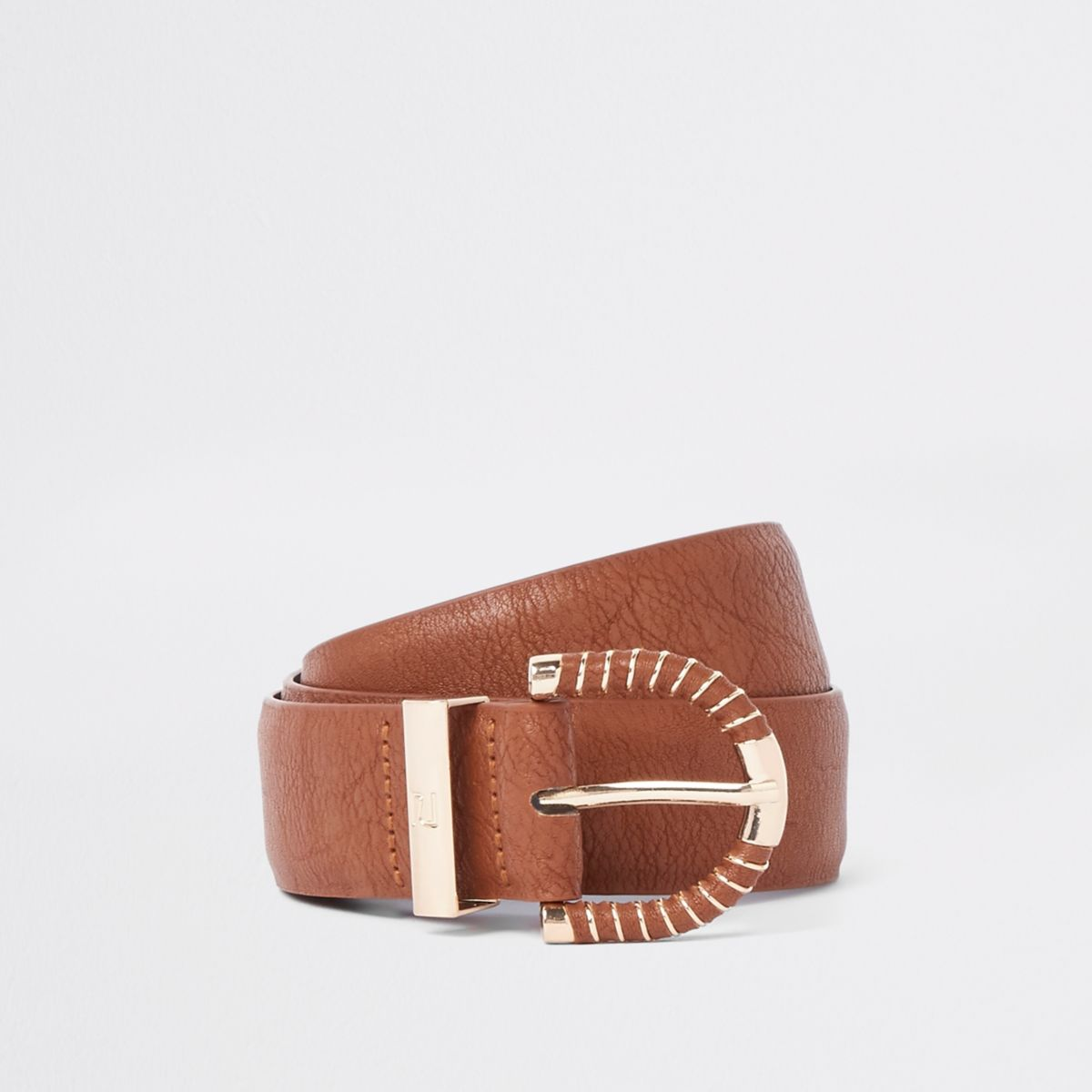 Light brown wrapped buckle jeans belt