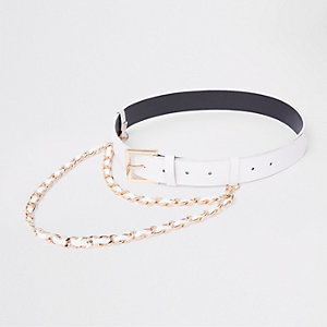 White chain detail jeans belt