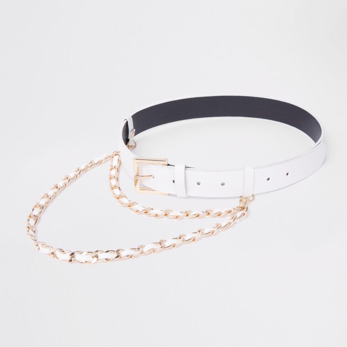 White chain detail jeans belt