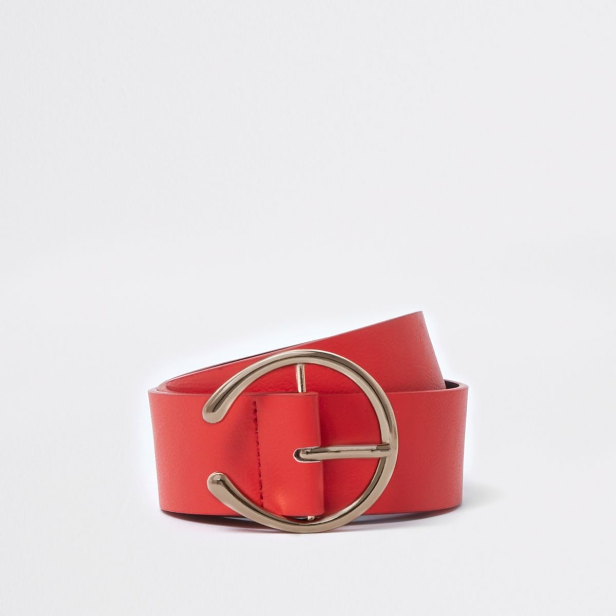 Red curved horseshoe buckle belt