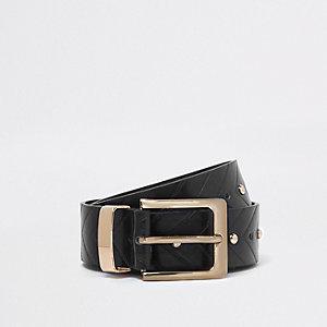 Zwarte jeansriem met studs en pijl
