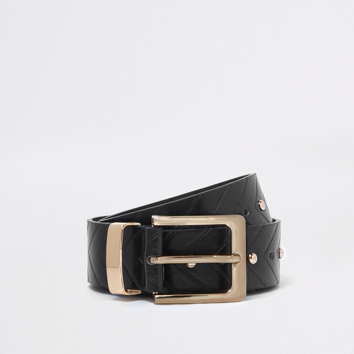 Black studded arrow jeans belt