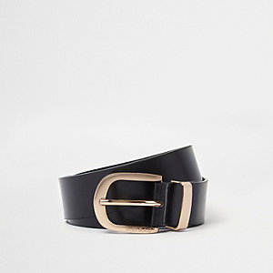 Black oil finish gold tone buckle jeans belt