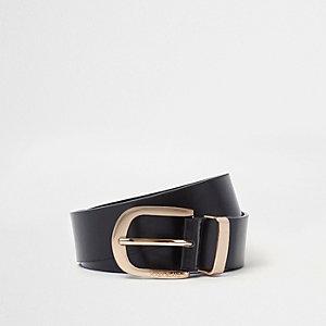 Black oil finish gold tone buckle jeans belt
