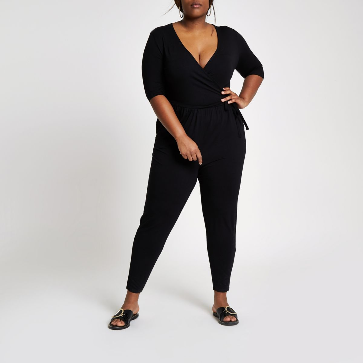 Plus black wrap tapered jersey jumpsuit