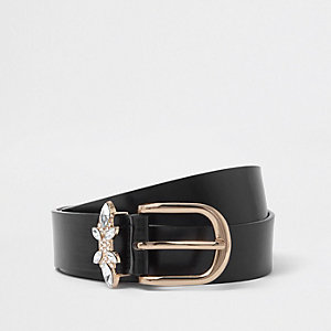 Black jewel embellished buckle jeans belt