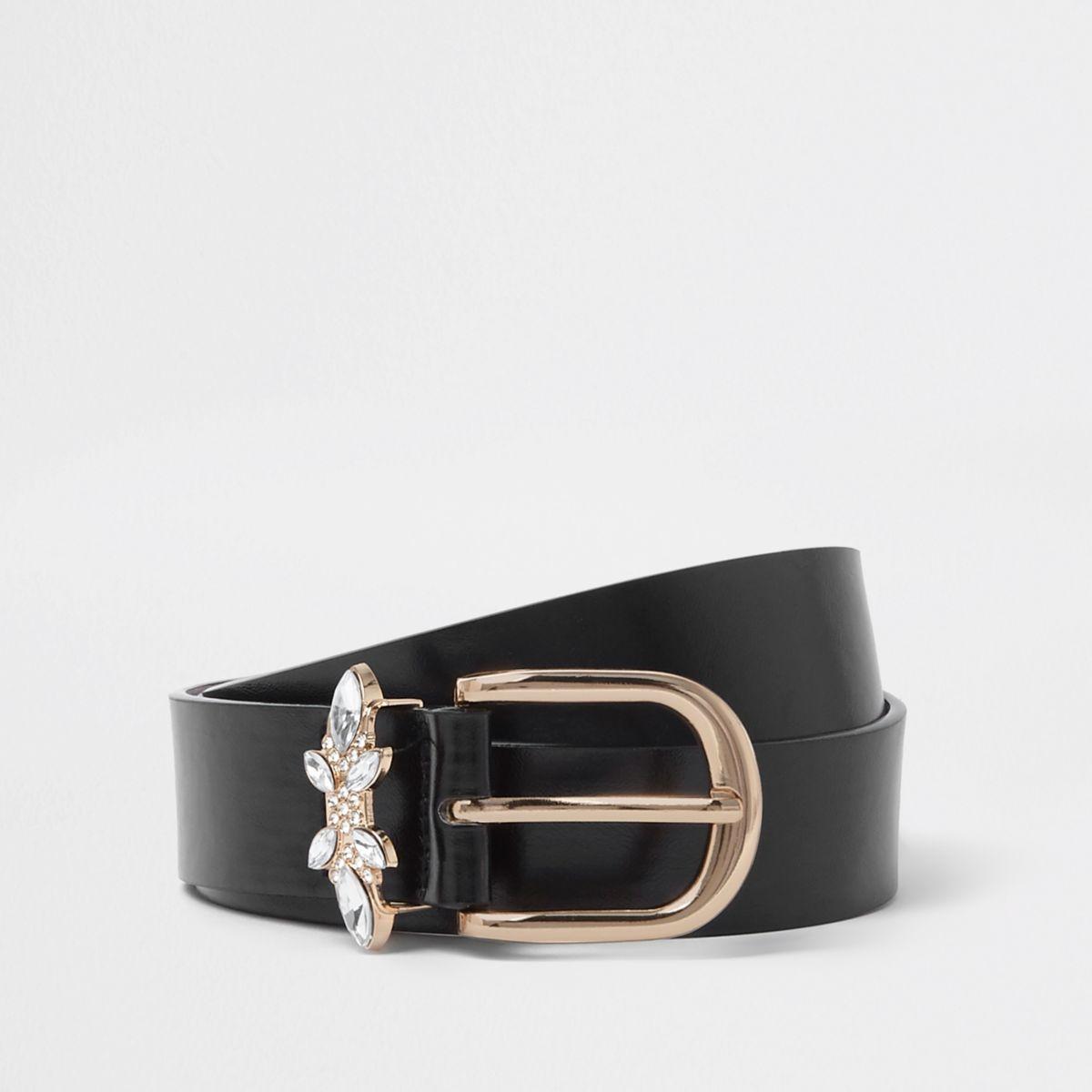 Zwarte jeansriem met siersteentjes op de gesp