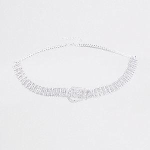 Zilverkleurige jeansriem met diamantjes