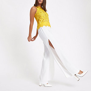 Yellow lace broderie crop top