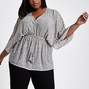 Plus grey sequin embellished kimono top