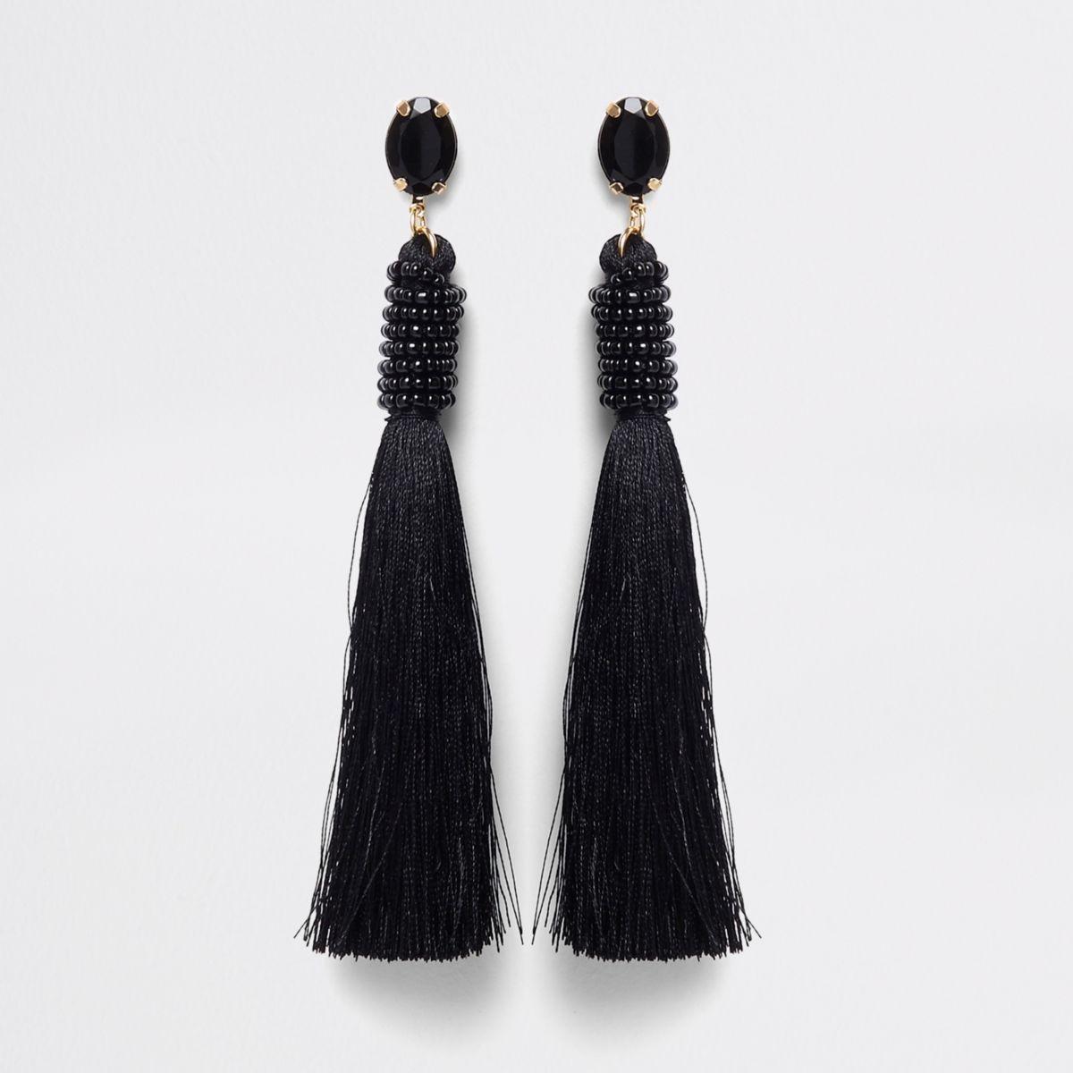 Black jewel seedbead tassel drop earrings