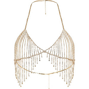 Gold tone diamante embellished bralet