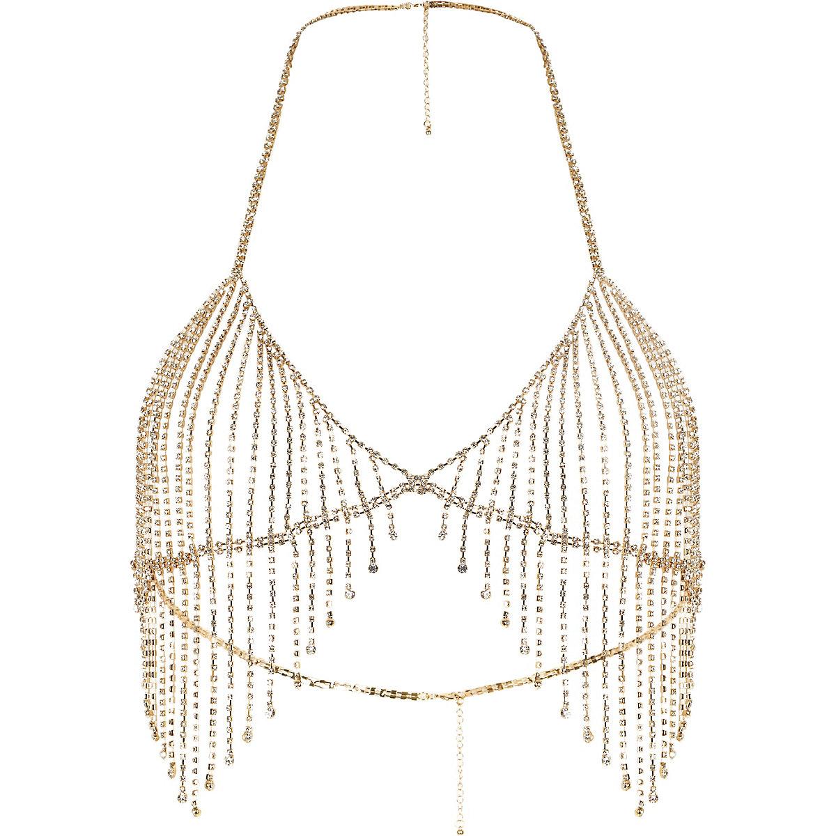 Gold tone rhinestone embellished bralette