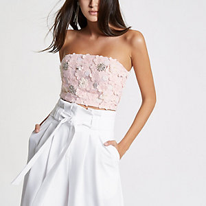 Pink floral bandeau crop top