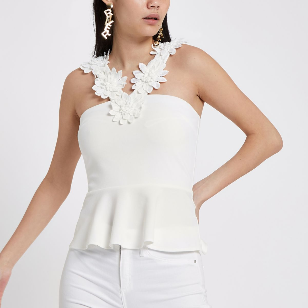 White floral trim cami top