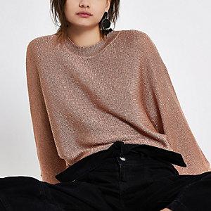 Roségoudkleurig metallic gebreide pullover