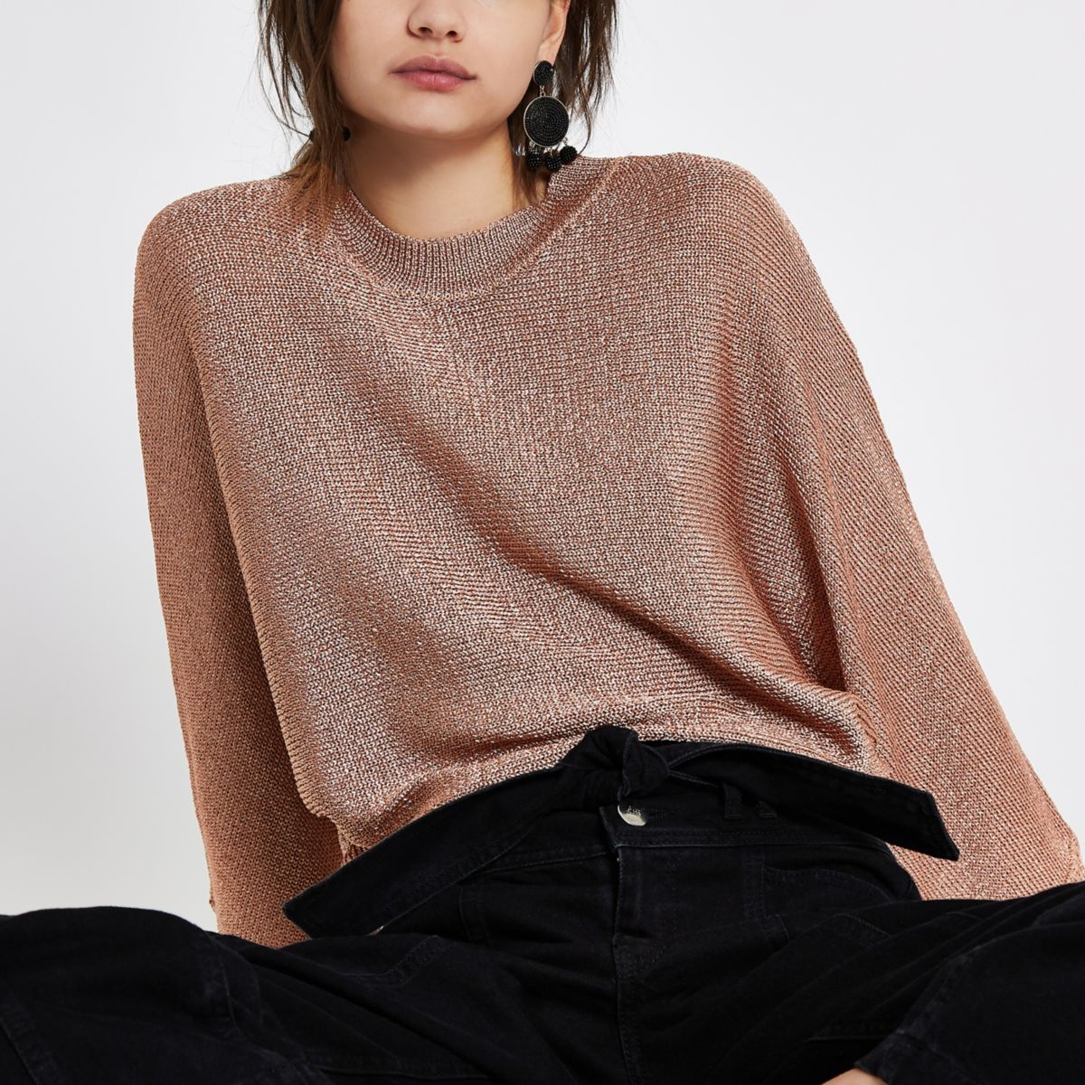 Rose gold metallic knit sweater