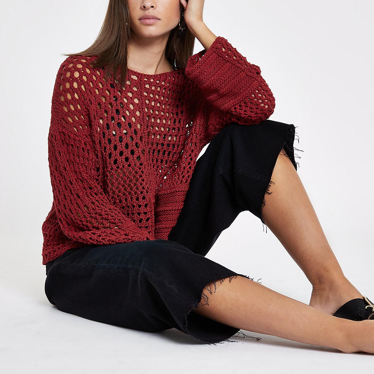 Rust crochet knit boxy sweater