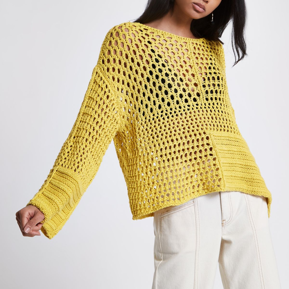 Yellow crochet knit boxy jumper