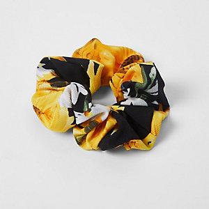 Chouchou motif tournesol noir et jaune