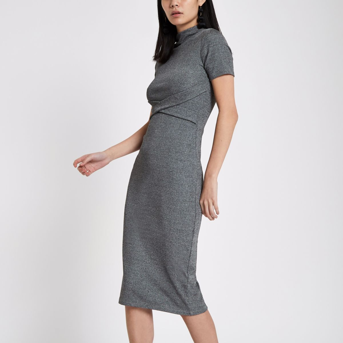 Grey wrap front jersey bodycon dress