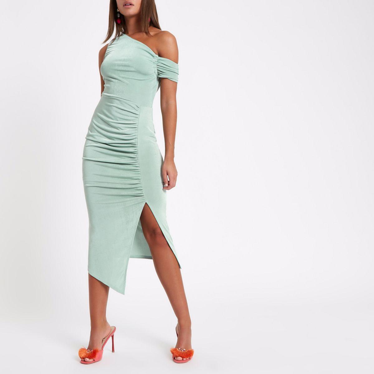 Green one shoulder ruched midi dress