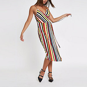 Yellow stripe wrap slip midi dress
