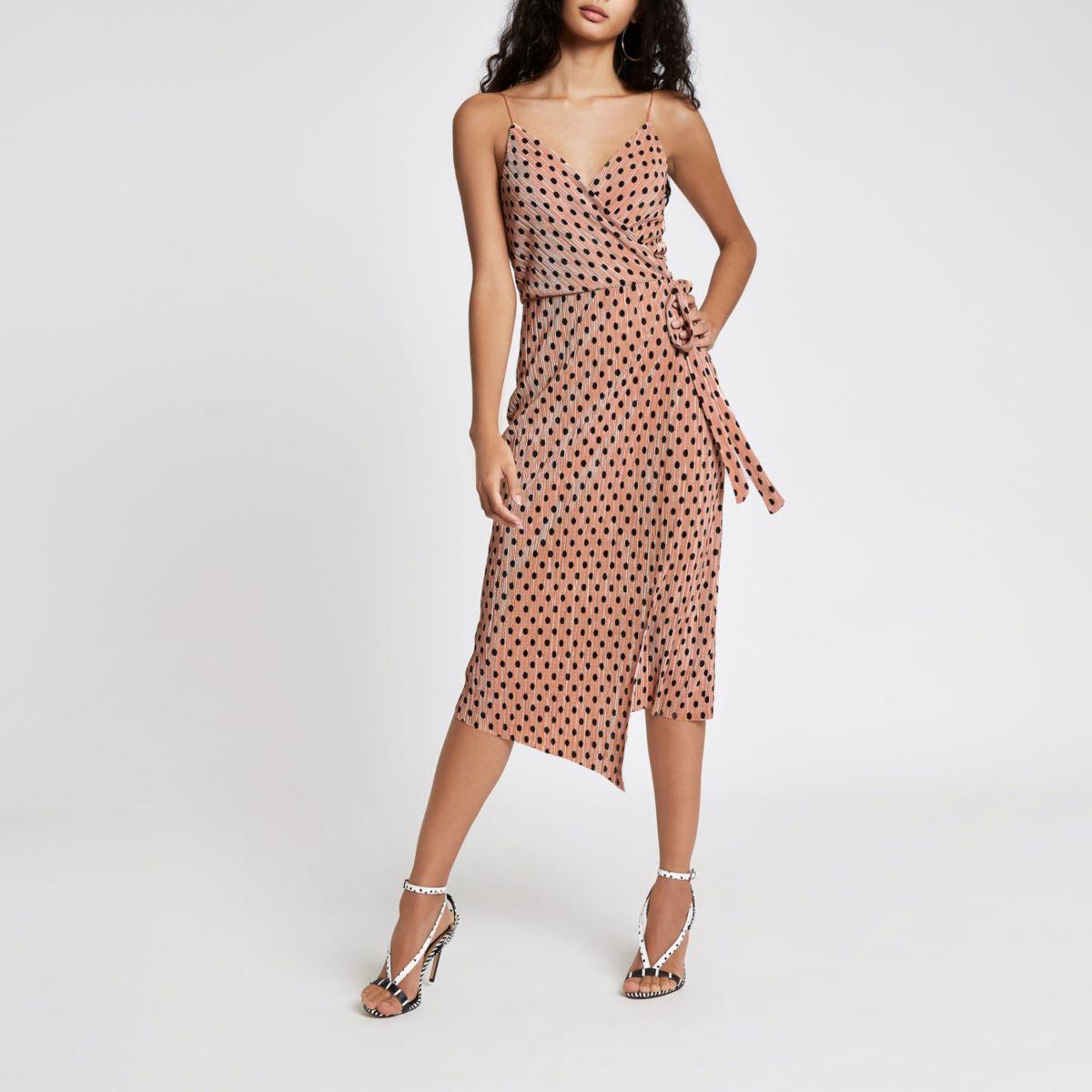 Pink plisse spot wrap midi slip dress