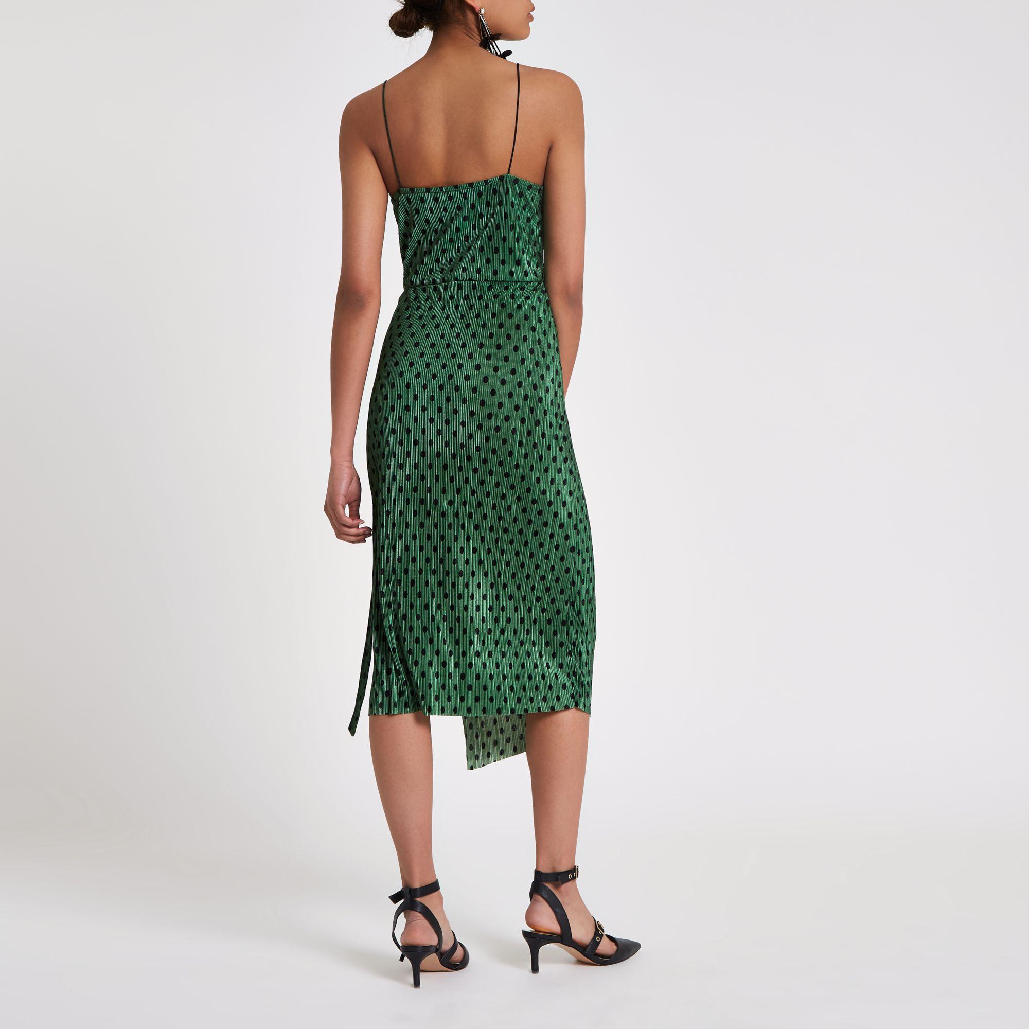 b6236b943975 River Island Green plisse spot wrap midi slip dress at £38 | love ...