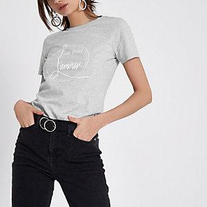 Grijs gemêleerd aansluitend T-shirt met 'L'amour'-print