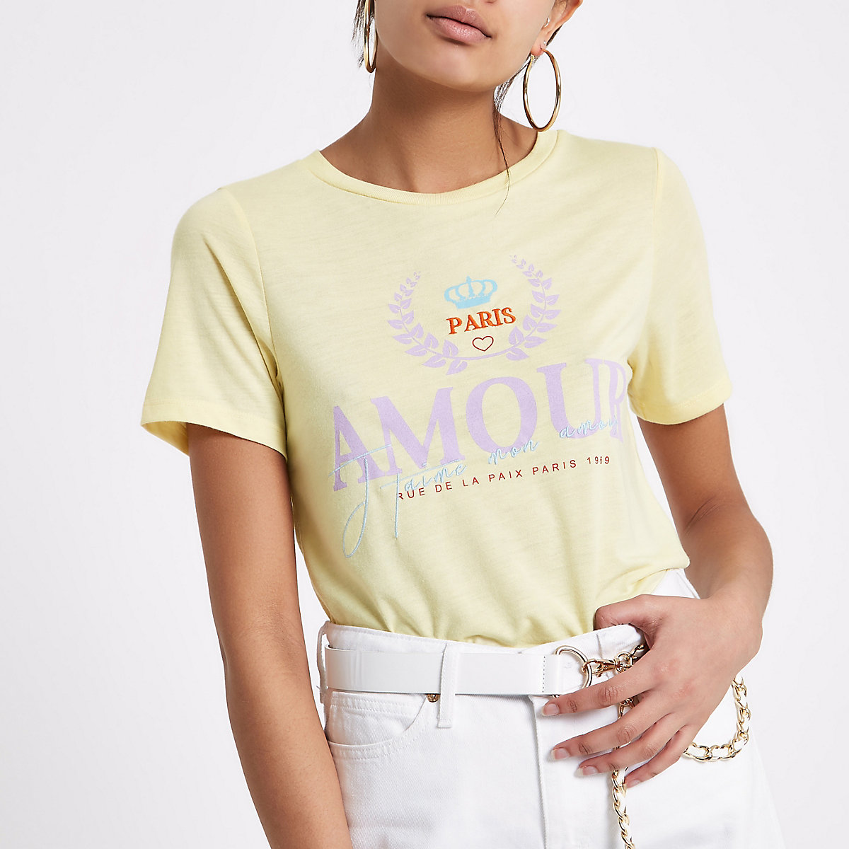 Yellow 'amour' print fitted T-shirt