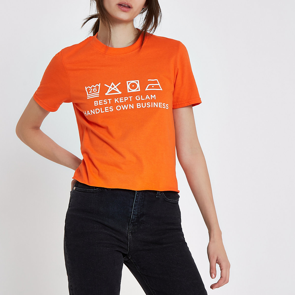 Orange Ditch the Label cropped T-shirt