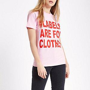 T-shirt à imprimé « #labels are for clothes » rose