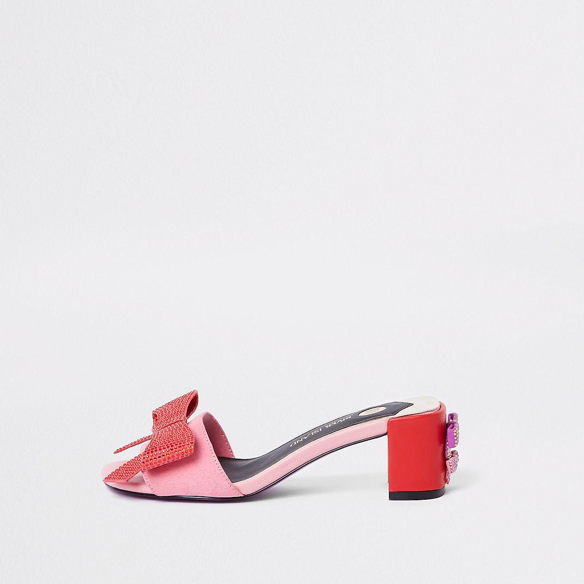 Pink bow block heel mules