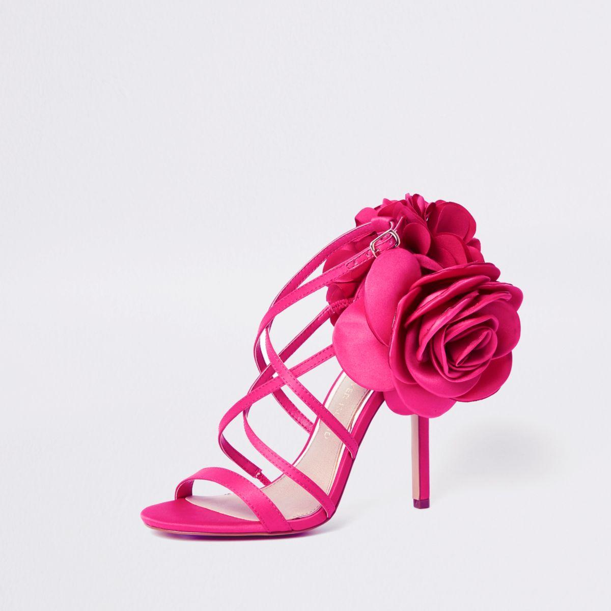 Pink flower strappy stiletto heel sandals shoes boots sale women pink flower strappy stiletto heel sandals mightylinksfo