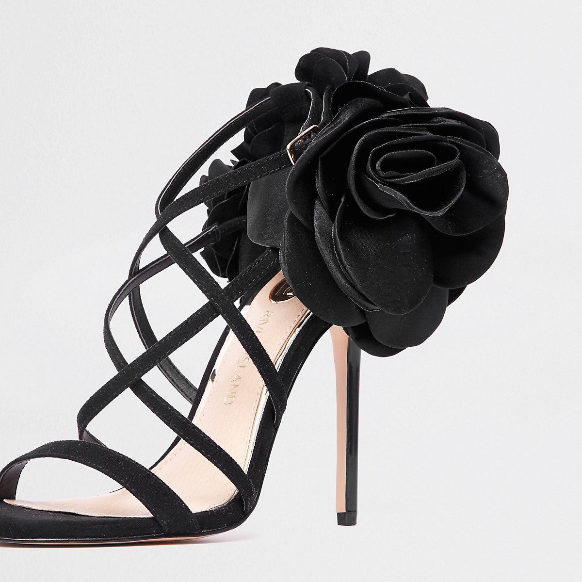aiguilles noires Fleurs bottes à et talons chaussures sandales wSnzRqIF