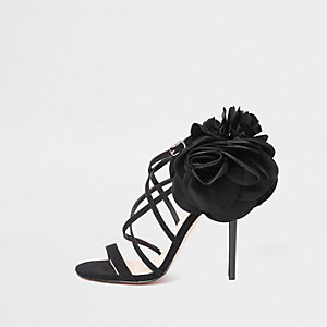 Black flower strappy stiletto heel sandals