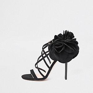 Black flower strappy stiletto heel sandals