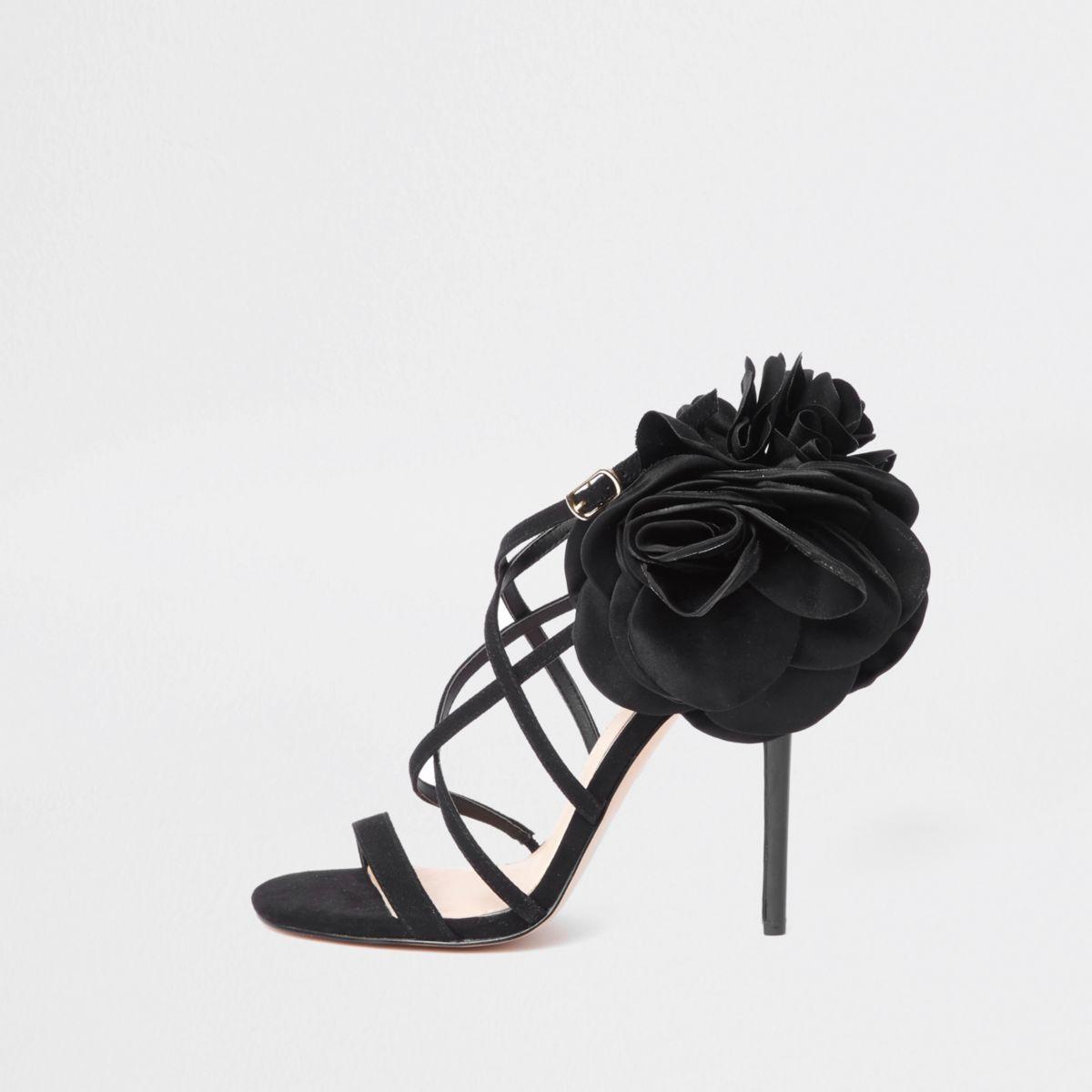 Zwarte gebloemde naaldhaksandalen met bandjes
