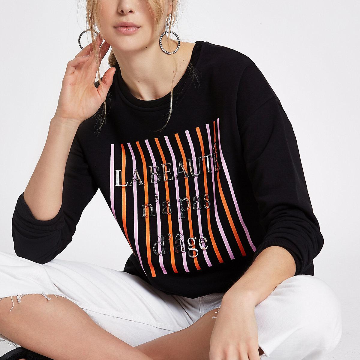 Black 'la beaute' embossed sweatshirt
