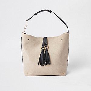 Beige tassel ring underarm slouch bag