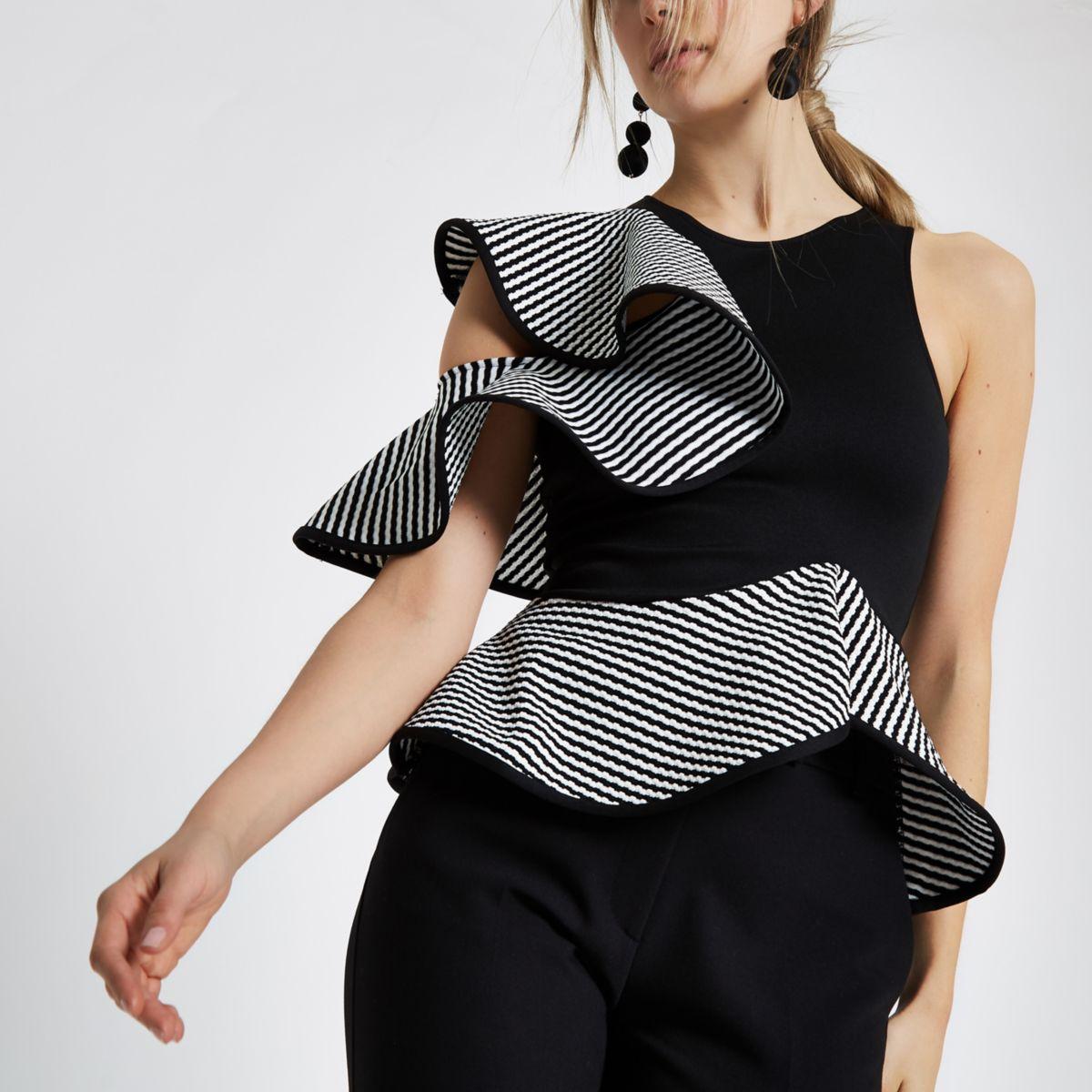 Black mono textured frill sleeveless top