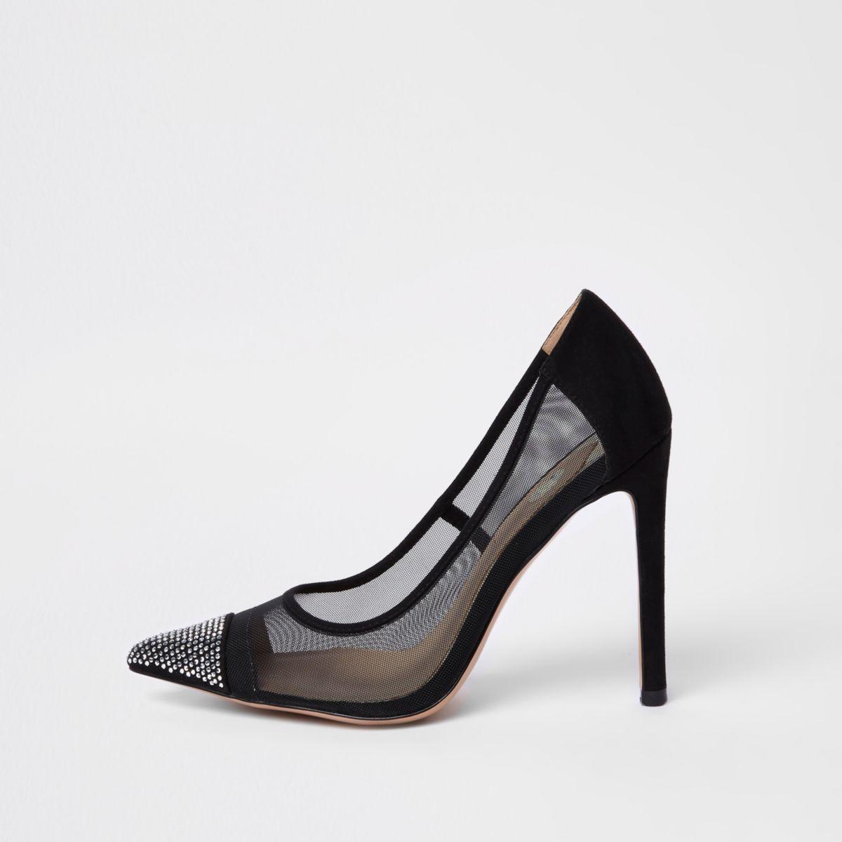 Black mesh diamante court shoe
