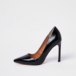 Black patent court shoes