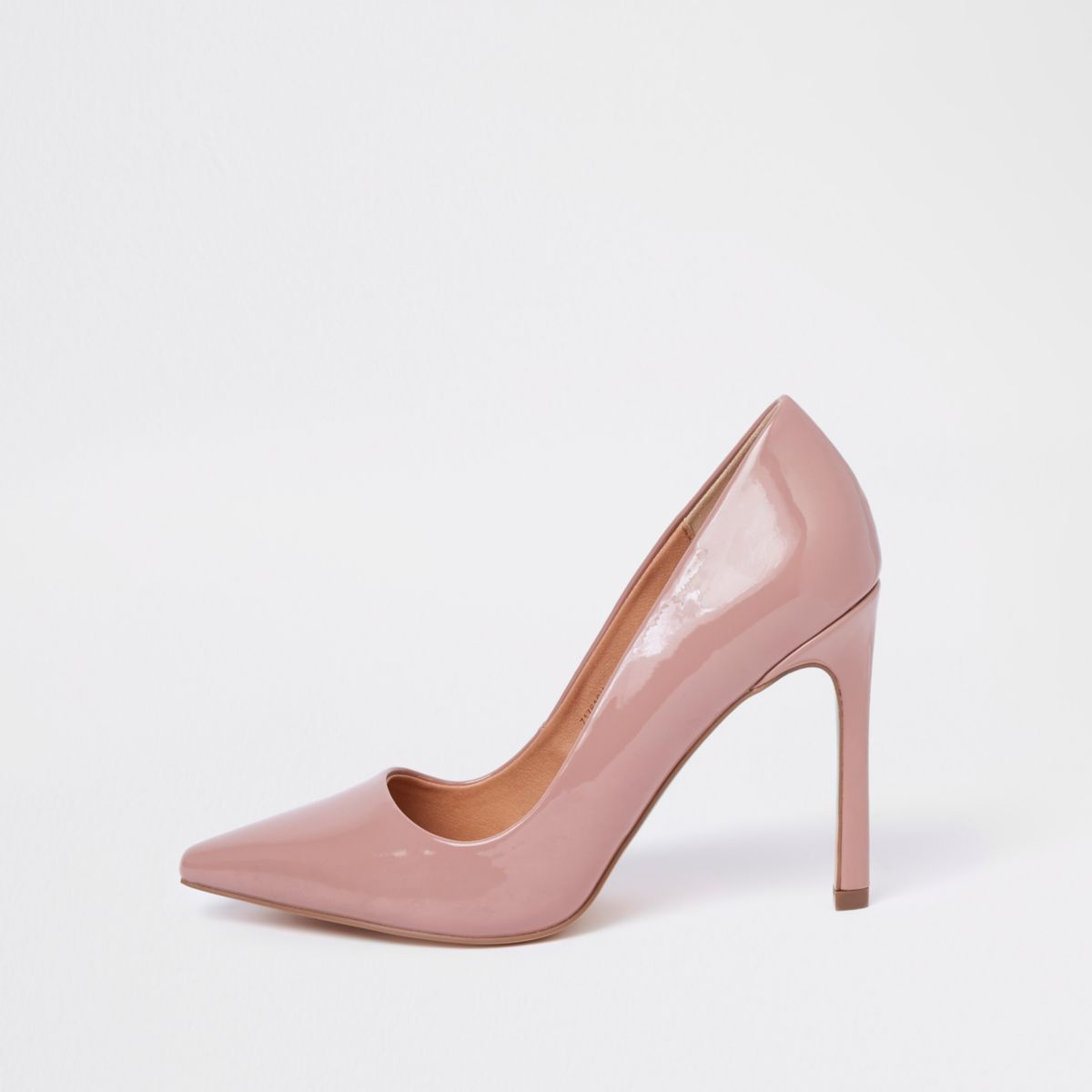Nude pink patent court shoes
