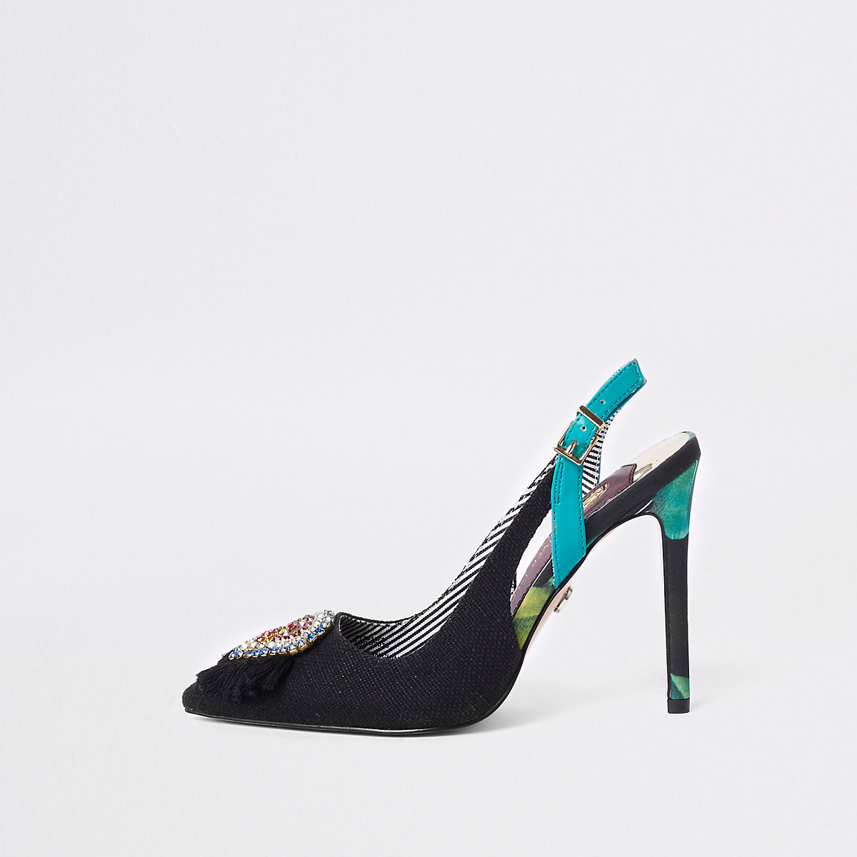9caa55263c56 Black jewel embellished slingback court shoes Black jewel embellished  slingback court shoes ...
