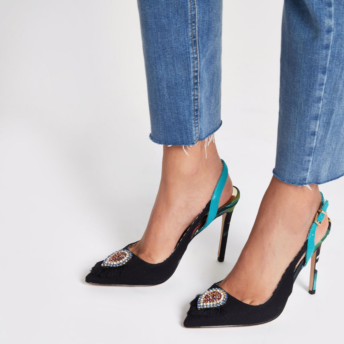 Black Jewel Embellished Slingback Court Shoes by River Island