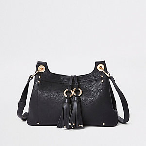 Black tassel double ring cross body bag