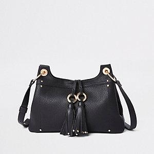 Black tassel double ring cross body bag